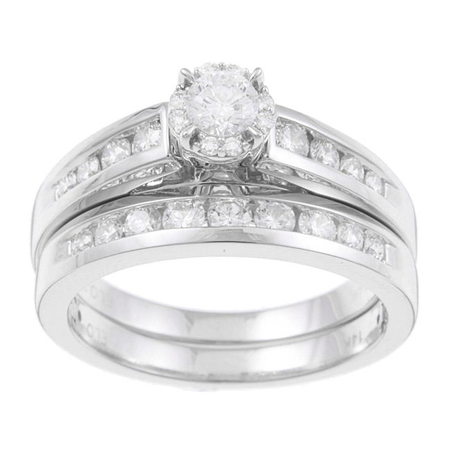 Eloquence 14k White Gold 1ct TDW Certified Diamond Engagement Ring Set
