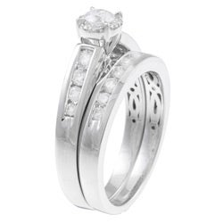 Eloquence 14k White Gold 1ct TDW Certified Diamond Engagement Ring Set - Thumbnail 1