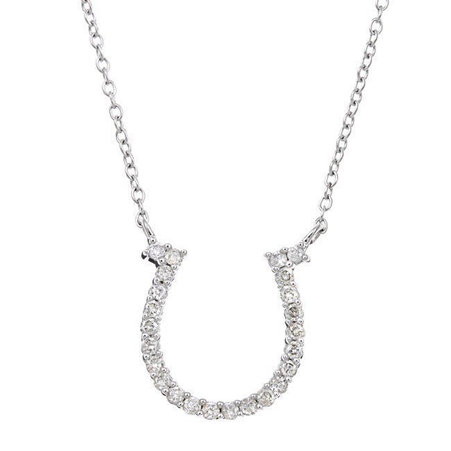Eloquence 10k White Gold 1/4ct TDW Diamond Horseshoe Necklace