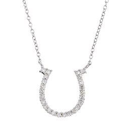 Eloquence 10k White Gold 1/4ct TDW Diamond Horseshoe Necklace (K-L, I2-I3)