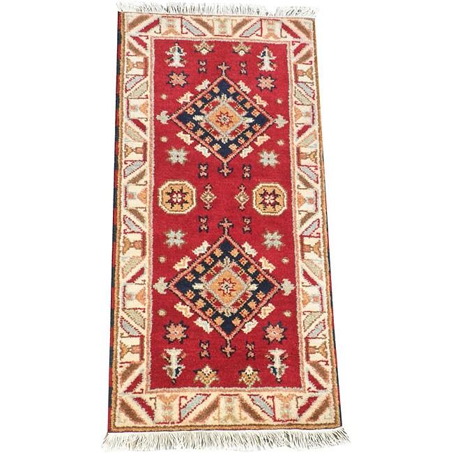 Herat Oriental Indo Hand-knotted Kazak Red Wool Rug (2' x 4')