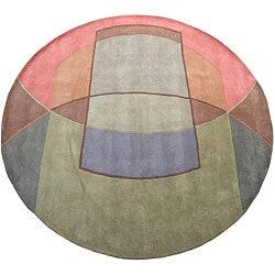 Herat Oriental Indo Hand-tufted Tibetan Multicolor Wool Rug (8' Round)