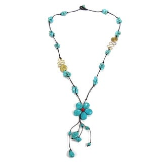 Handmade Long Drop Turquoise Flower Brass Deco Wax Rope Necklace (Thailand)