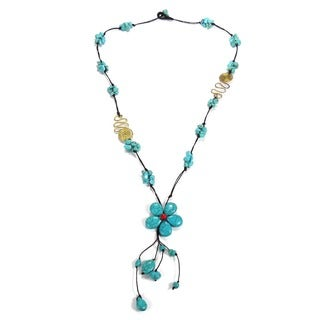 Handmade Turquoise Flower Necklace with Red Coral and Brass Accents (Thailand)