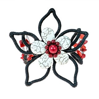 Handmade White Turquoise and Synthetic Coral Flower Cuff Bracelet (Thailand)