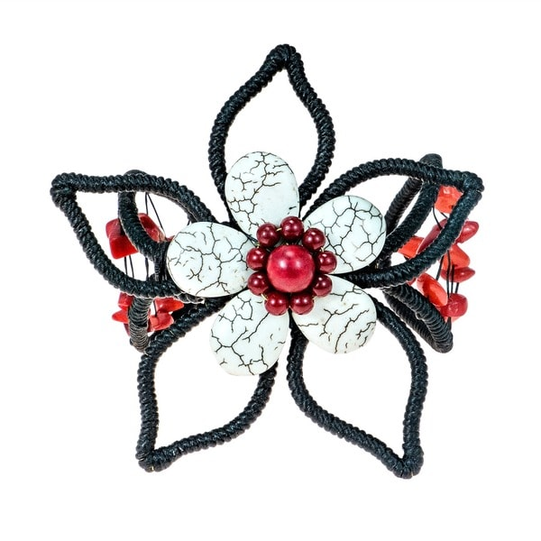 Handmade White Turquoise and Coral Flower Adjustable Cuff Bracelet (Thailand)
