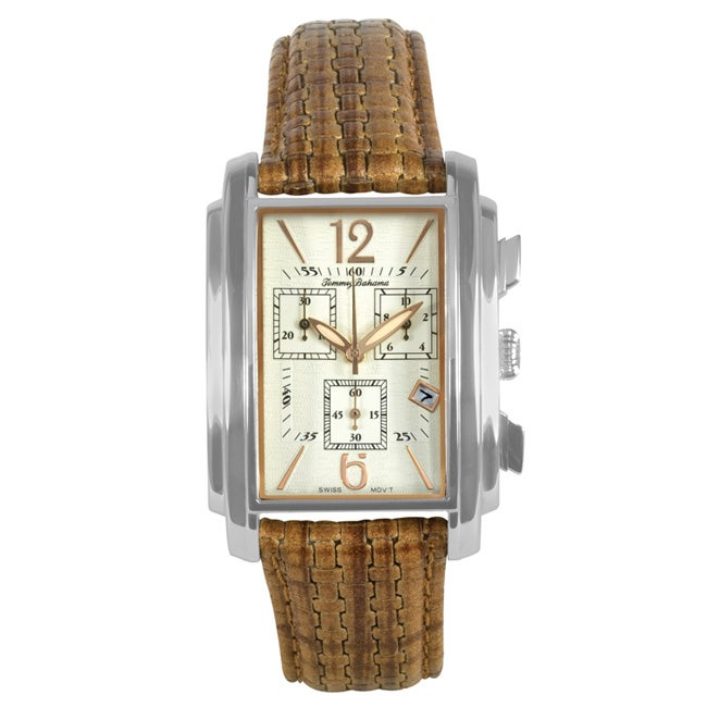 Stainless-Steel Tommy Bahama Men's 'Santiago' Chronograph Leather Watch