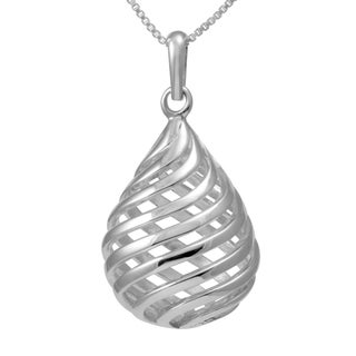Sterling Silver Twirling Tear Drop Necklace (Thailand)