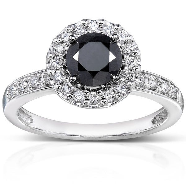 Annello by Kobelli 14k White Gold 1ct TDW Black and White Diamond Halo Ring (H-I, I1-I2)
