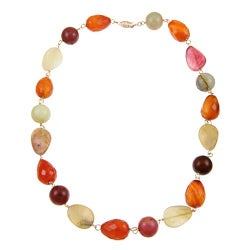 DaVonna 14k Gold Beads with Multi-colored Jade and Carnelian Stones Necklace