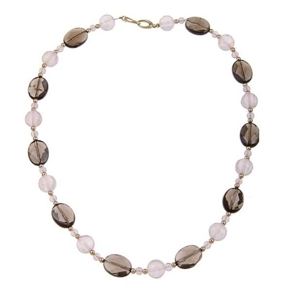 DaVonna 14k Gold Beads with Rose Quartz and Smokey Quartz Bead