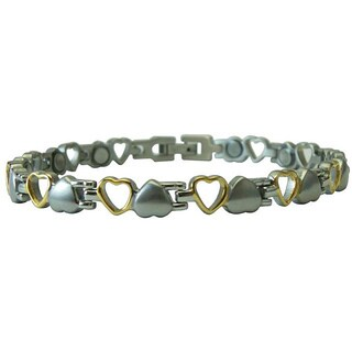 Brushed Silver/ Polished Gold Magnetic Small Hearts Bracelet