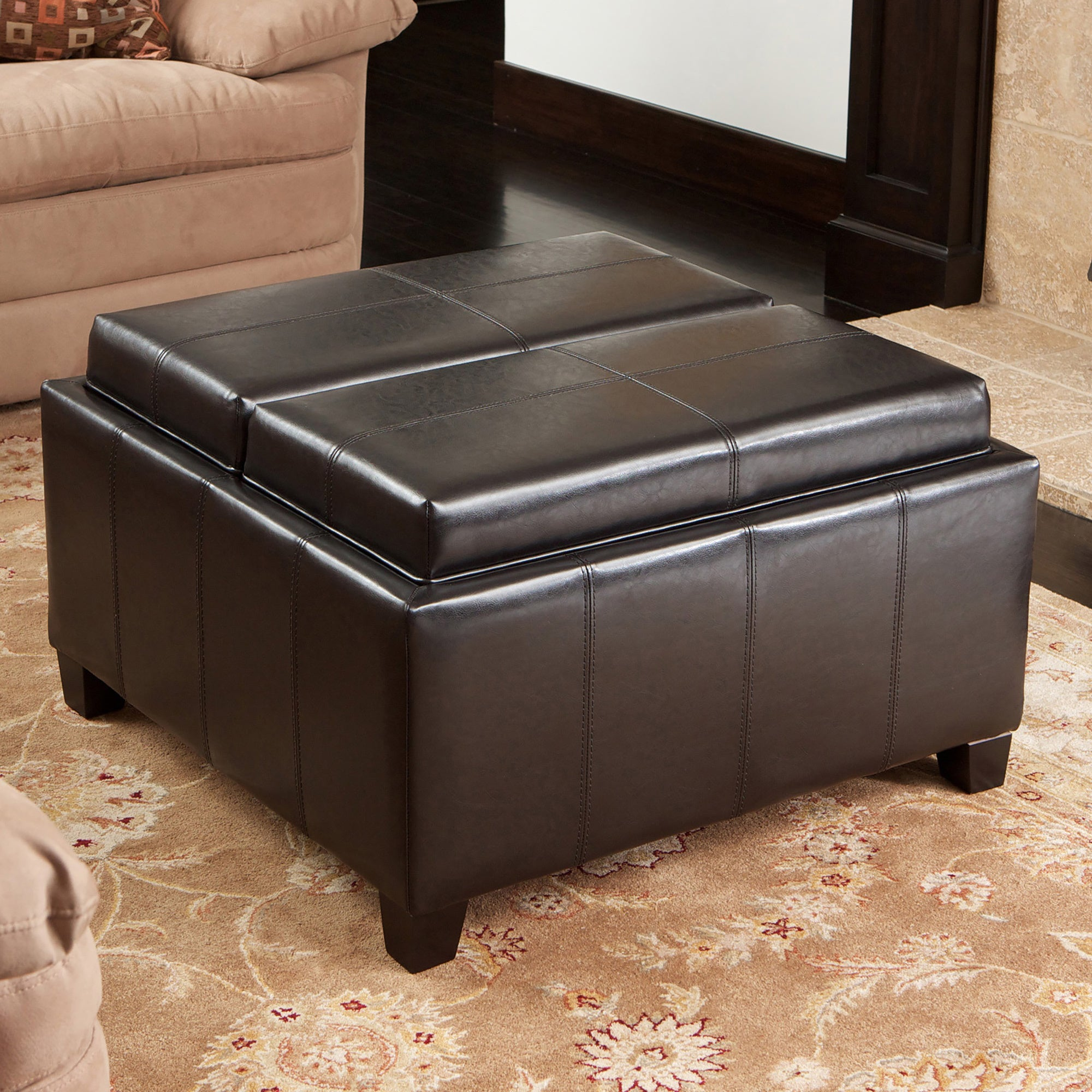 Terrific Mansfield Bonded Leather Espresso Tray Top Storage Ottoman By Christopher Knight Home Caraccident5 Cool Chair Designs And Ideas Caraccident5Info