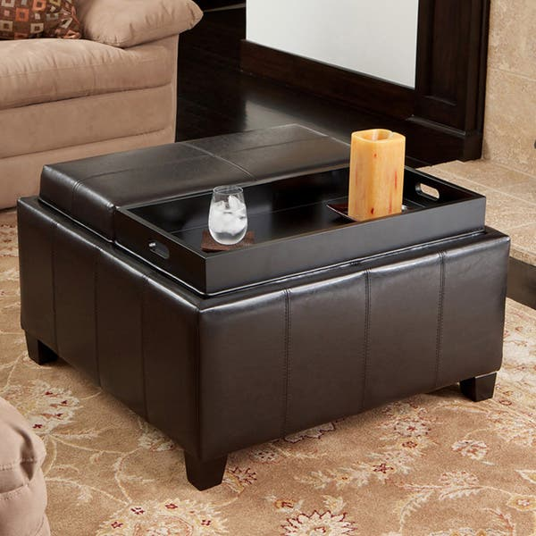 Stupendous Shop Mansfield Bonded Leather Espresso Tray Top Storage Beatyapartments Chair Design Images Beatyapartmentscom