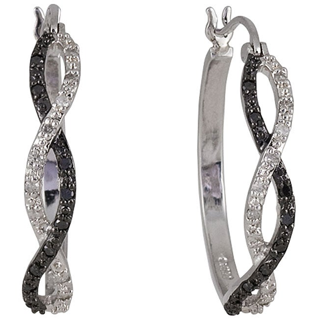 Sterling Silver 1/4ct TDW Black and White Diamond Hoop Earrings - Thumbnail 0