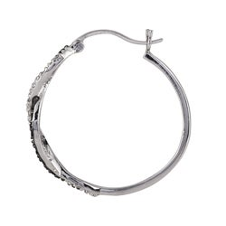 Sterling Silver 1/4ct TDW Black and White Diamond Hoop Earrings