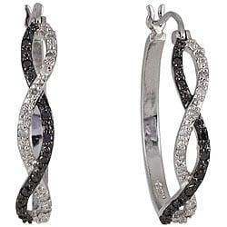 Sterling Silver 1/4ct TDW Black and White Diamond Hoop Earrings