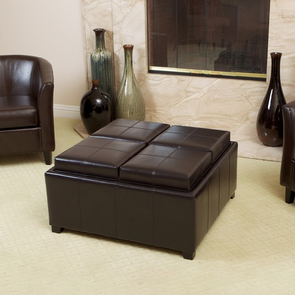 Mason Bonded Leather Espresso Tray Top Storage Ottoman by Christopher Knight Home. Opens flyout.