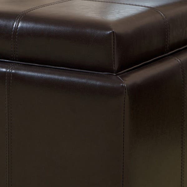 Wondrous Shop Mason Bonded Leather Espresso Tray Top Storage Ottoman Caraccident5 Cool Chair Designs And Ideas Caraccident5Info