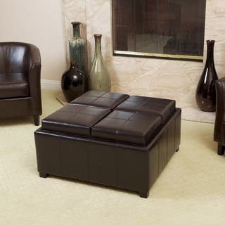 Mason Bonded Leather Espresso Tray Top Storage Ottoman by Christopher Knight Home|https://ak1.ostkcdn.com/images/products/5137203/P12982747.jpg?impolicy=medium