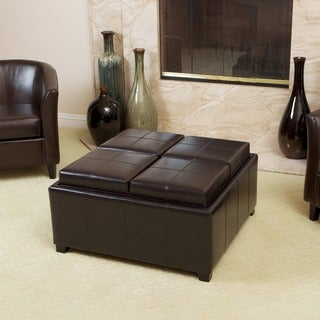 Marvelous Mason Bonded Leather Espresso Tray Top Storage Ottoman By Christopher  Knight Home