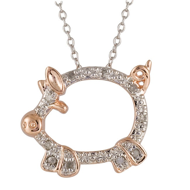 Silver and rose gold 110ct tdw diamond pig critter necklace i j silver and rose gold 110ct tdw diamond pig critter necklace i j i3 mozeypictures Gallery