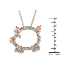 Silver and Rose Gold 1/10ct TDW Diamond Pig Critter Necklace (I-J, I3) - Thumbnail 2