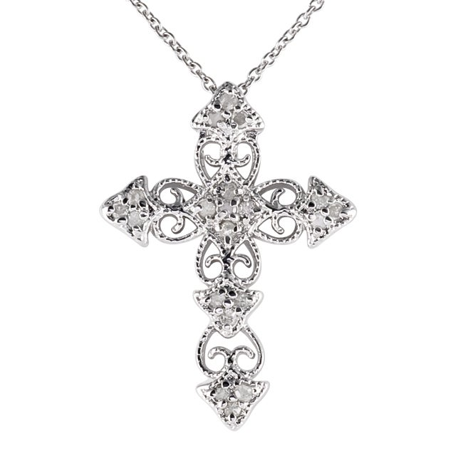 Sterling Silver 1/4ct TDW Vintage Diamond Cross Necklace - Thumbnail 0