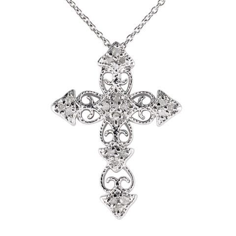 Sterling Silver 1/4ct TDW Vintage Diamond Cross Necklace