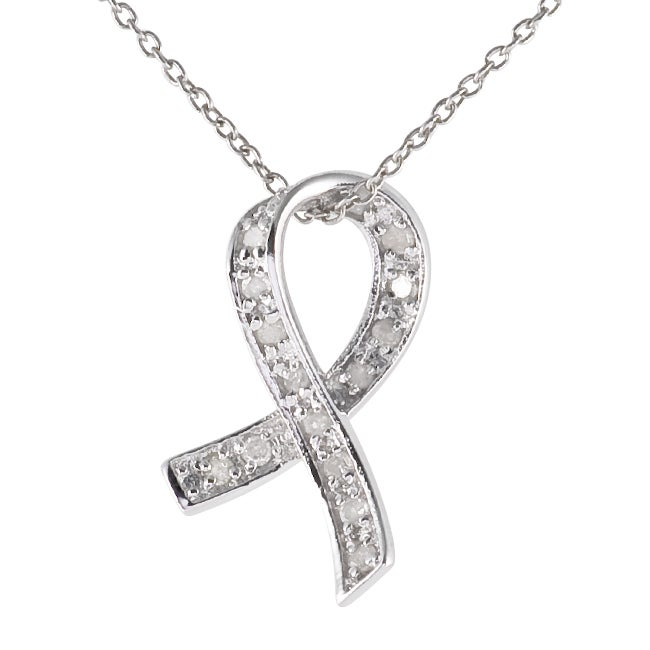 Sterling Silver Diamond Ribbon Necklace (I-J, I3)