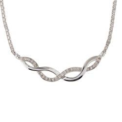 Silver 1/4ct TDW Diamond Infinity Necklace