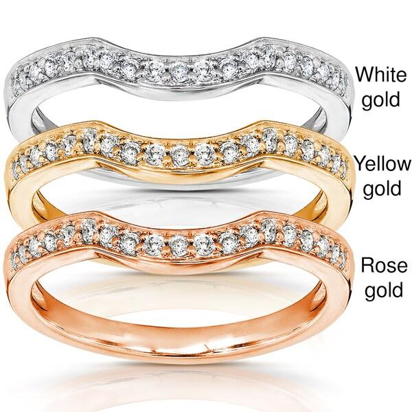 Annello 14k Gold 1/6ct TDW Diamond Curved Wedding Band (H-I, I1-I2)