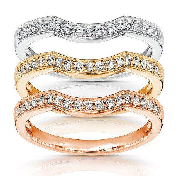 Annello by Kobelli 14k Gold 1/6ct TDW Diamond Curved Wedding Band