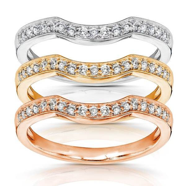 Annello by Kobelli 14k Gold 1/6ct TDW Diamond Curved Wedding Band (H-I, I1-I2)