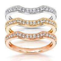 Annello by Kobelli 14k Gold 1/6 Carat TDW Women's Diamond Curved Wedding Band