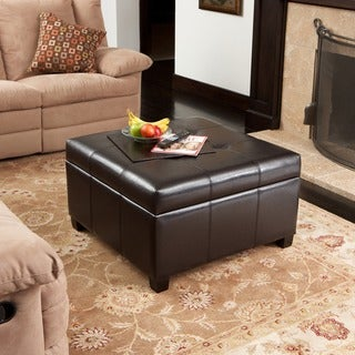Richmond Espresso Bonded Leather Storage Ottoman by Christopher Knight Home