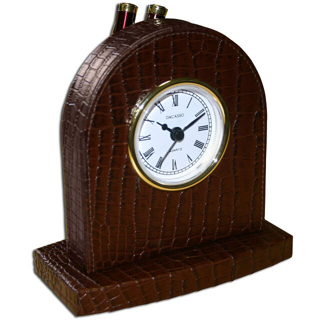 Brown Dacasso A2016 Croc-embossed Leather Desk Clock/Pen Holder