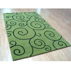 Alliyah Handmade Lime Green New Zealand Blend Wool Rug(8' x 10') - Thumbnail 1
