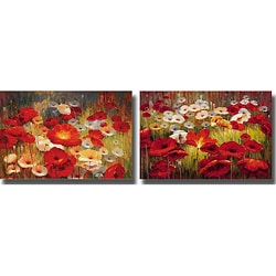 Lucas Santini 'Meadow Poppies' Unframed Canvas 2-piece Set