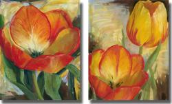 Carol Buettner 'Summer Tulips' Unframed Canvas 2-piece Set - Thumbnail 1