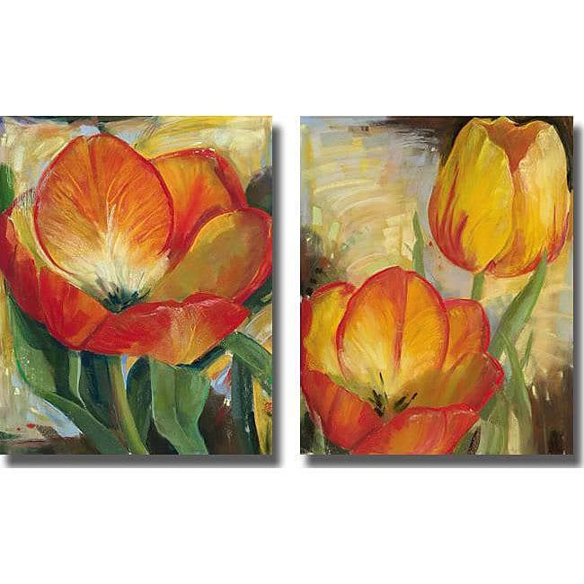 Carol Buettner 'Summer Tulips' Unframed Canvas 2-piece Set