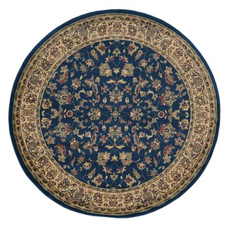 Admire Home Living Caroline Sarouk Round Oriental Rug (5'3 x 5'3) (Option: Olefin/Synthetic - Navy - 5' x 5'/6' x 6')