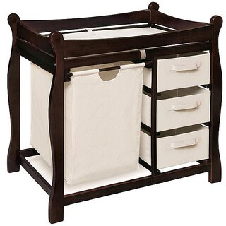 Sleigh Style Espresso Changing Table with Hamper and Baskets (Option: Espresso Finish) https://ak1.ostkcdn.com/images/products/5140835/P12985838.jpg?_ostk_perf_=percv&impolicy=medium
