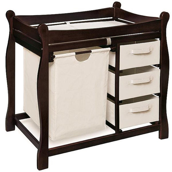 Badger Basket Sleigh Style Espresso Wood Changing Table With Hamper And  Baskets