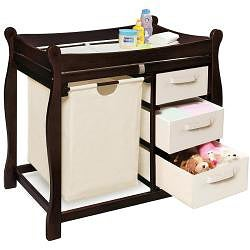 Sleigh Style Espresso Changing Table with Hamper and Baskets - Thumbnail 1