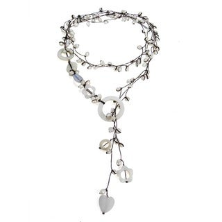Handmade Cotton Pearl/ Quartz/ Mother of Pearl Wrap Lariat Necklace (3-6 mm) (Thailand)