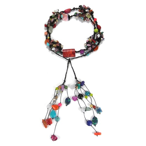Cotton Rope Multicolor Gemstone Long Cluster Necklace (Thailand)