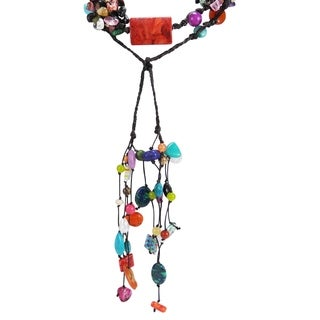Handmade Cotton Rope Multicolor Gemstone Long Cluster Necklace (Thailand)