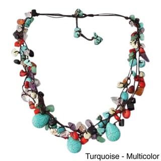 Handmade Cotton Rope Multicolor Gemstone Teardrop Necklace (Thailand)