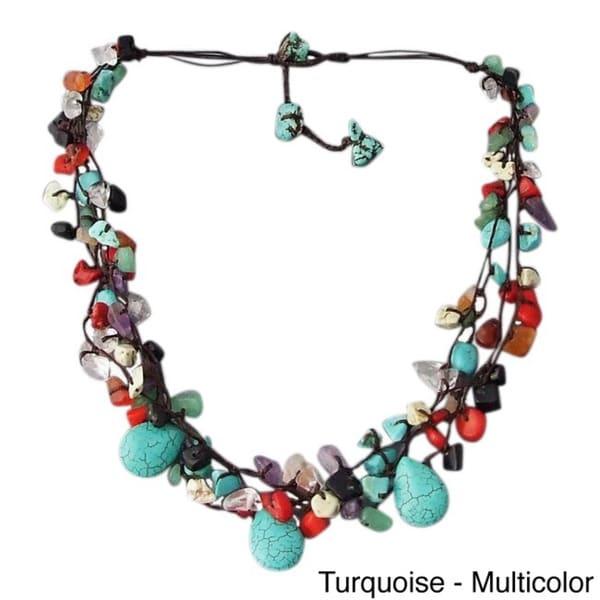 Cotton Rope Multicolor Gemstone Teardrop Necklace (Thailand)